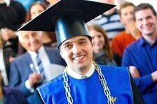Graduate with a doctorate hat